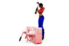 3d woman break locker concept Stock Photo