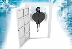 3d woman bring heart from door illustration Stock Images
