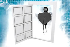 3d woman bring heart from door illustration Royalty Free Stock Photos
