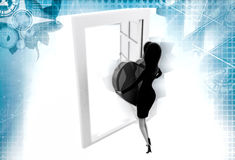 3d woman bring heart from door illustration Stock Photography