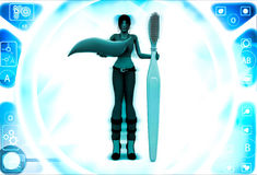 3d woman with brush and toothpaste illustration Royalty Free Stock Photos