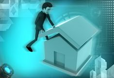 3d woman build house illustration Royalty Free Stock Images