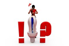 3d woman bulb concept Royalty Free Stock Images