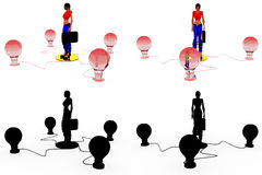3d woman bulbs concept Collections With Alpha And Shadow Channel Royalty Free Stock Images