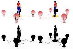 3d woman bulbs concept Collections With Alpha And Shadow Channel Stock Images
