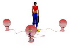 3d woman bulbs concept Stock Photo
