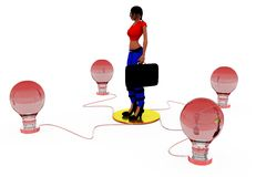 3d woman bulbs concept Royalty Free Stock Photography