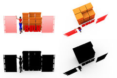 3d woman bulk concept Collections With Alpha And Shadow Channel Royalty Free Stock Photo
