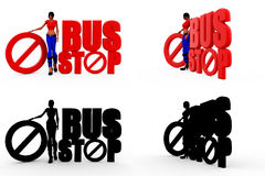 3d woman bus stop concept Collections With Alpha And Shadow Channel Stock Image