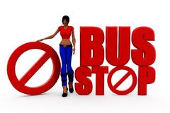 3d woman bus stop concept Royalty Free Stock Images