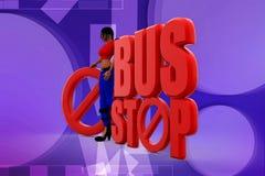 3d woman bus stop  illustraton Stock Photos