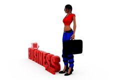 3d woman bussiness plan cocnept Royalty Free Stock Photo