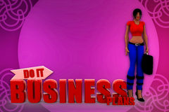 3d woman bussiness plan illustration Royalty Free Stock Photography