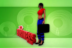 3d woman bussiness plan illustration Royalty Free Stock Photo