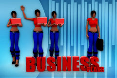 3d woman bussiness plans illustration Stock Images