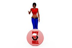 3d woman buy sell concept Stock Image