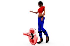 3d woman buy sell concept Royalty Free Stock Photo