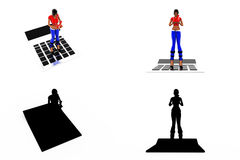 3d woman calculator concept Collections With Alpha And Shadow Channel Stock Photography