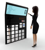 3d woman with calculator to calculate accounts concept Royalty Free Stock Image