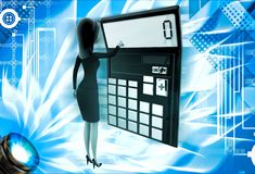 3d woman with calculator to calculate accounts illustration Stock Images