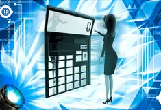 3d woman with calculator to calculate accounts illustration Stock Photos