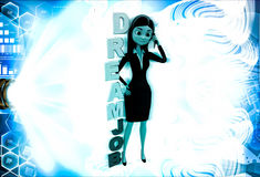 3d woman calling on phone with DREAM JOB text illustration Royalty Free Stock Photography