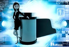 3d woman with camera film reel illustration Royalty Free Stock Images