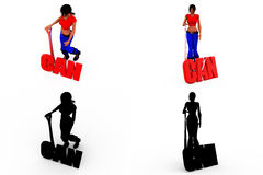 3d woman can concept Collections With Alpha And Shadow Channel Royalty Free Stock Image