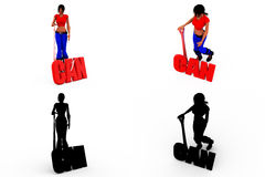 3d woman can concept Collections With Alpha And Shadow Channel Royalty Free Stock Photo