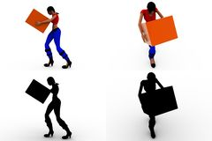 3d woman carry box  Concept Collections With Alpha And Shadow Channel Royalty Free Stock Images
