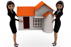 3d woman carry home concept Stock Photo
