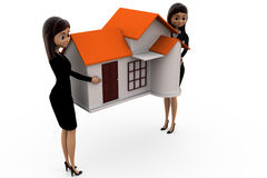 3d woman carry home concept Stock Image