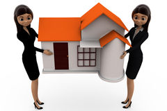 3d woman carry home concept Royalty Free Stock Image