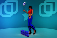 3d woman carry illustration Stock Image