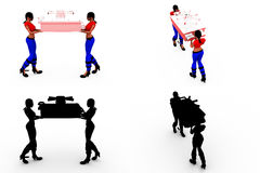 3d woman carry locker concept Collections With Alpha And Shadow Channel Royalty Free Stock Photos