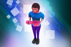3d woman carrying the question mark Stock Photos
