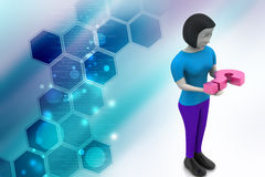 3d woman carrying the question mark Royalty Free Stock Photos