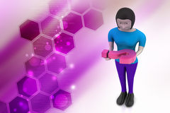 3d woman carrying the question mark Stock Photography
