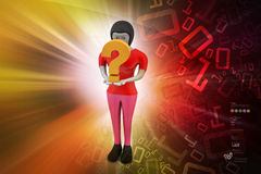 3d woman carrying the question mark Stock Images