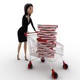 3d woman with cart and books in it concept Royalty Free Stock Images