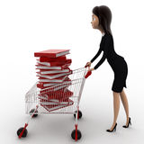 3d woman with cart and books in it concept Royalty Free Stock Photography