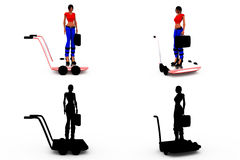 3d woman cart concept Collections With Alpha And Shadow Channel Stock Photo
