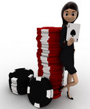 3d woman with casino coin and playing card concept Stock Photos