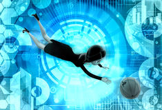 3d woman catch ball illstration Stock Photos