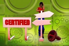 3d woman certified  illustraton Stock Photo