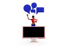 3d woman chat screen concept Royalty Free Stock Image