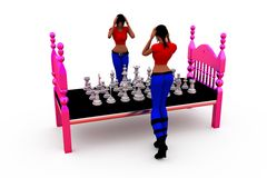 3d woman chess concept Royalty Free Stock Photos