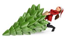 3D Woman christmas superhero pulling a fir tree stock illustration