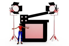 3d woman clapper light concept Royalty Free Stock Photography