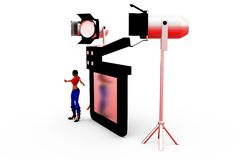 3d woman clapper light concept Royalty Free Stock Image